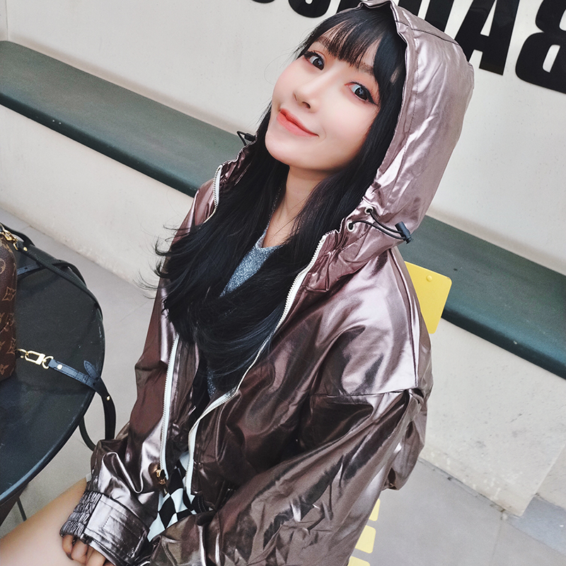 Meowo spring and summer new products handsome silver laser loose jacket short top hooded versatile coat women