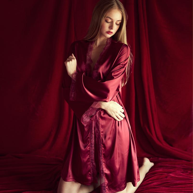 今夕何夕酒红浴袍晨袍女新娘伴娘结婚礼物浴衣仿真丝睡衣性感睡袍