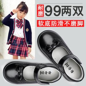女童黑皮鞋演出鞋2019新款春秋英伦风学生小儿童单鞋白小童公主鞋图片