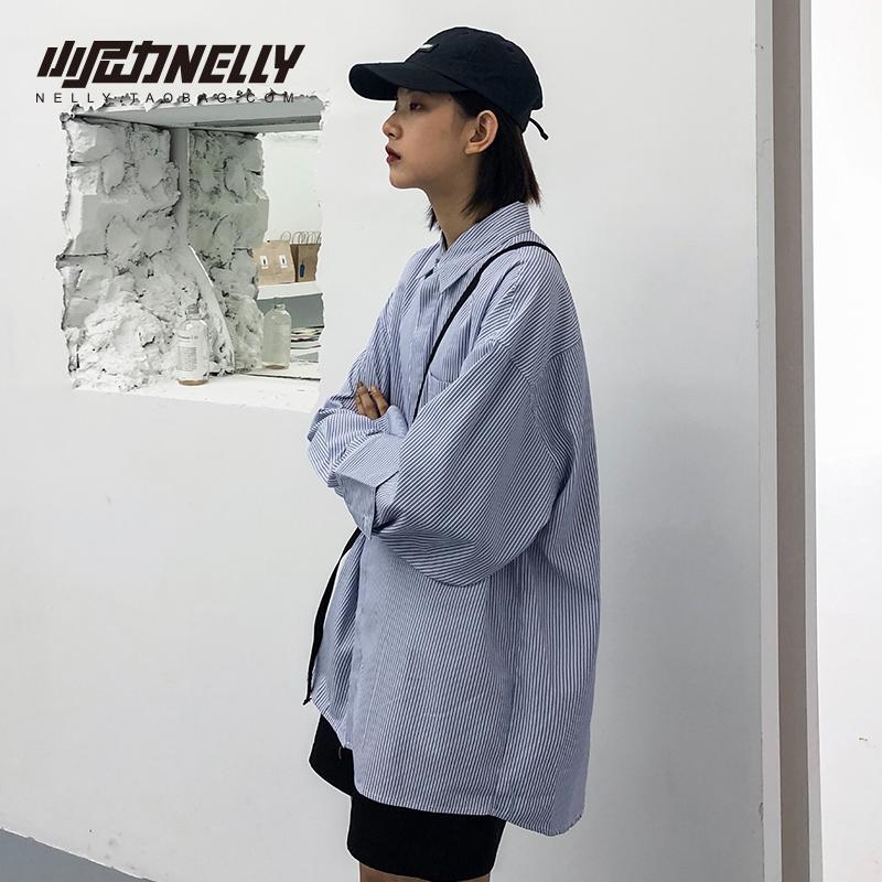 小尼力自制ins小众设计感蓝白竖条衬衫男女长袖衬衣BF风上衣外套