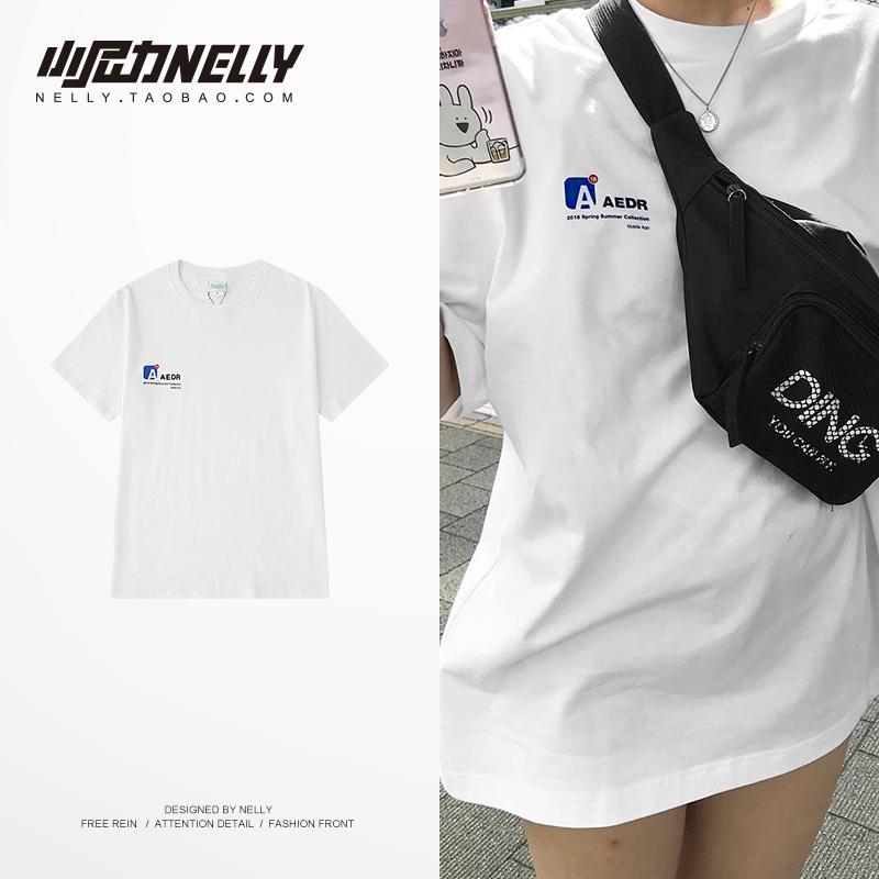 ulzzang短袖t恤男女装夏季潮流韩版上衣服黑白色圆领印花纯棉半袖