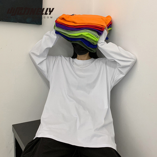 INS纯棉19韩国ins复古基础款纯色秋季打底衫内搭男女长袖T恤bf风图片