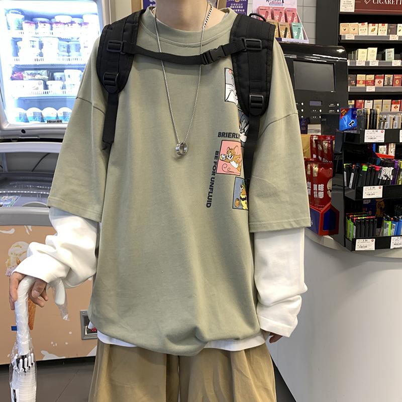 秋季长袖T恤男卡通印花假两件宽松休闲808A-WY0340-P45 限价58