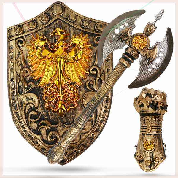 Rare childrens protective armor martial boys wearable anti riot full set armor warrior ax shield toy combination
