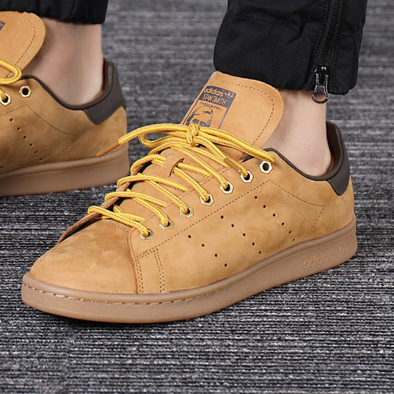 阿迪达斯三叶草男鞋夏季低帮史密斯小麦色经典休闲鞋板鞋B37875