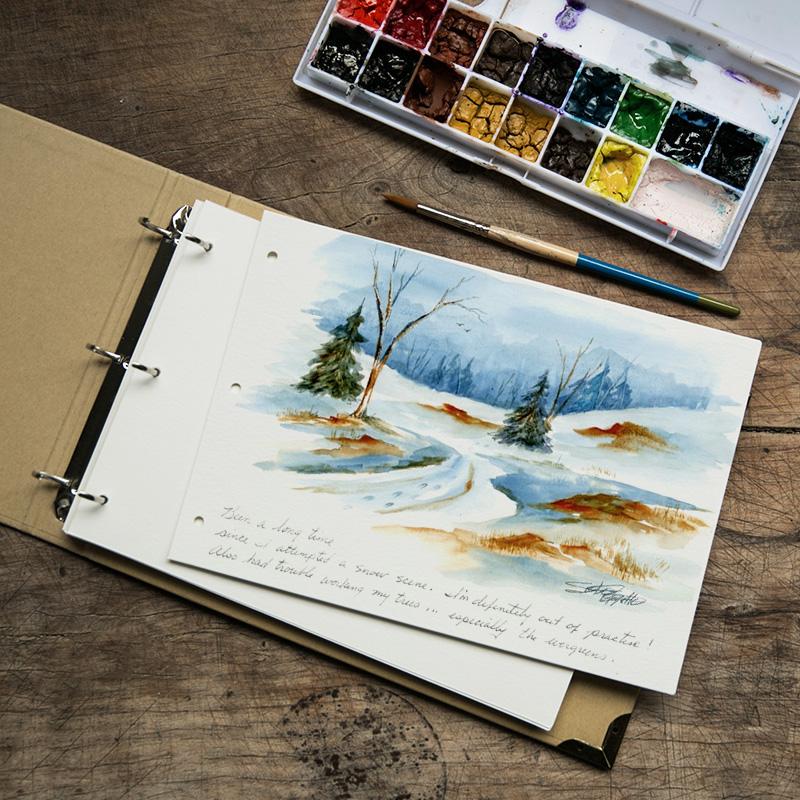 拙木 进口水彩纸空白活页本 16K复古写生素描DIY淡彩画纸手绘本子
