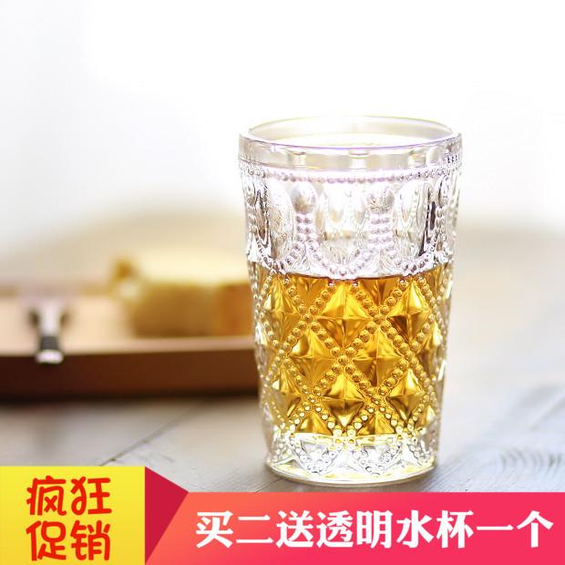 复古斯拉夫彩色大号果汁饮料杯酒水奶茶杯无铅浮雕玻璃杯酒杯包邮