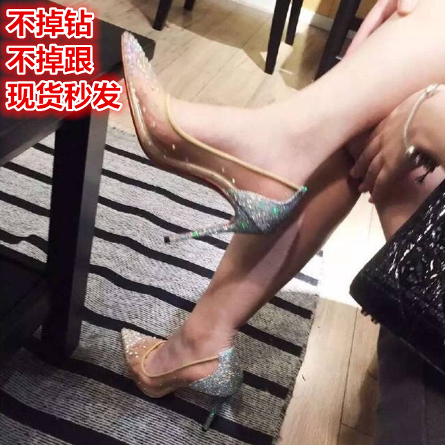 Net red the same type of gauze diamond high-heeled shoes womens stiletto Sequin single shoes fairy crystal shoes wedding shoes bridal shoes