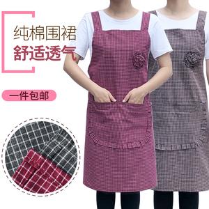 超值】纯棉围裙女时尚厨房家用全棉透气双肩围腰男棉麻加厚工作服