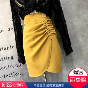 高腰气质职业包臀裙白色不规则褶皱半身裙秋款女性感工作黑色短裙