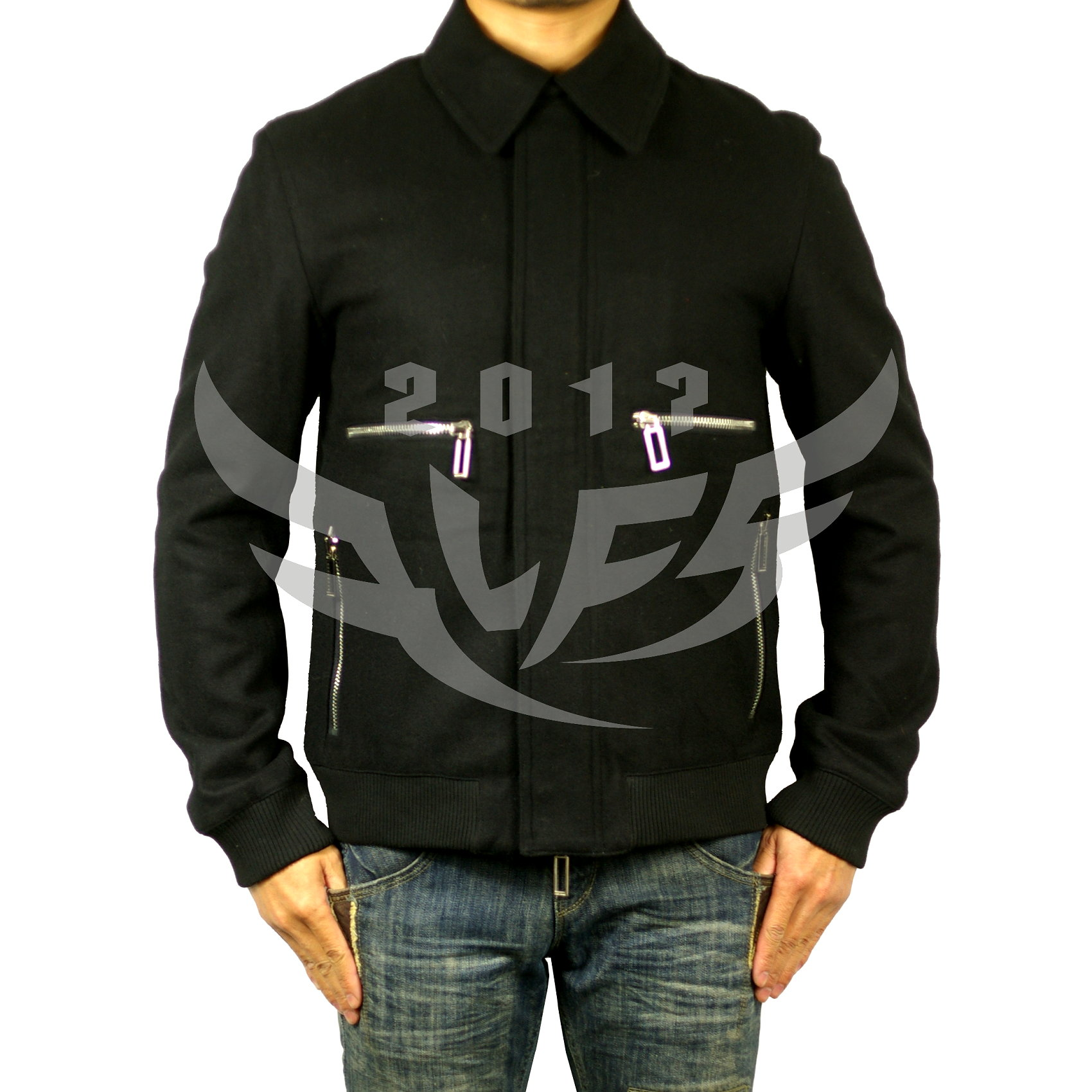 Mens Woolen jacket woolen jacket multi zipper black
