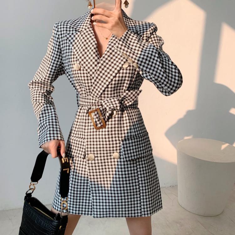 J2.J1WG 2019早秋新款复古千鸟格双排扣显瘦气质ol西装连衣裙