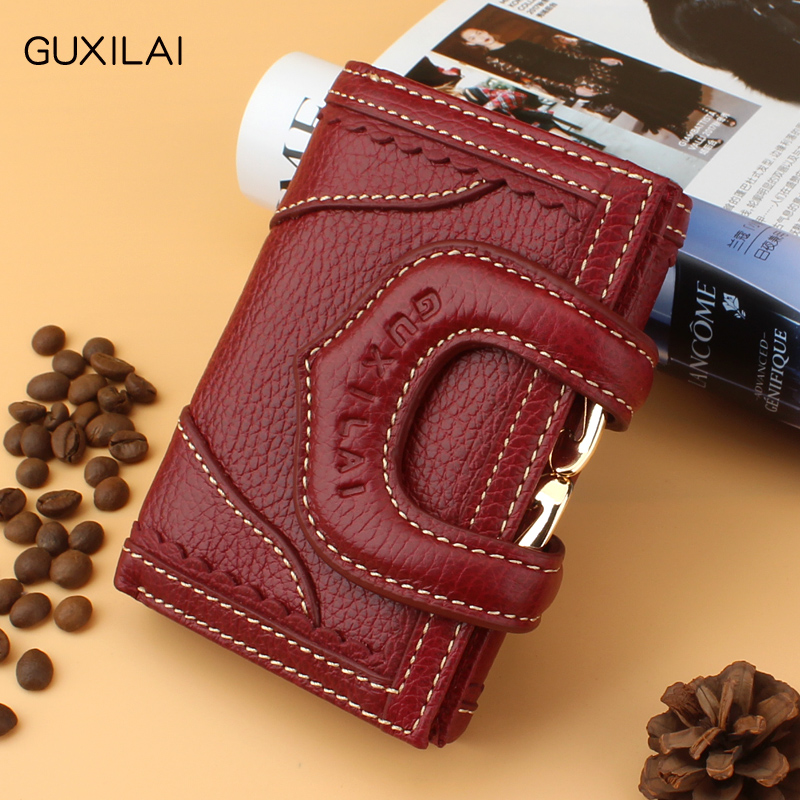 Purse womens short leather fashion retro new three fold head cowhide versatile folding Student Wallet