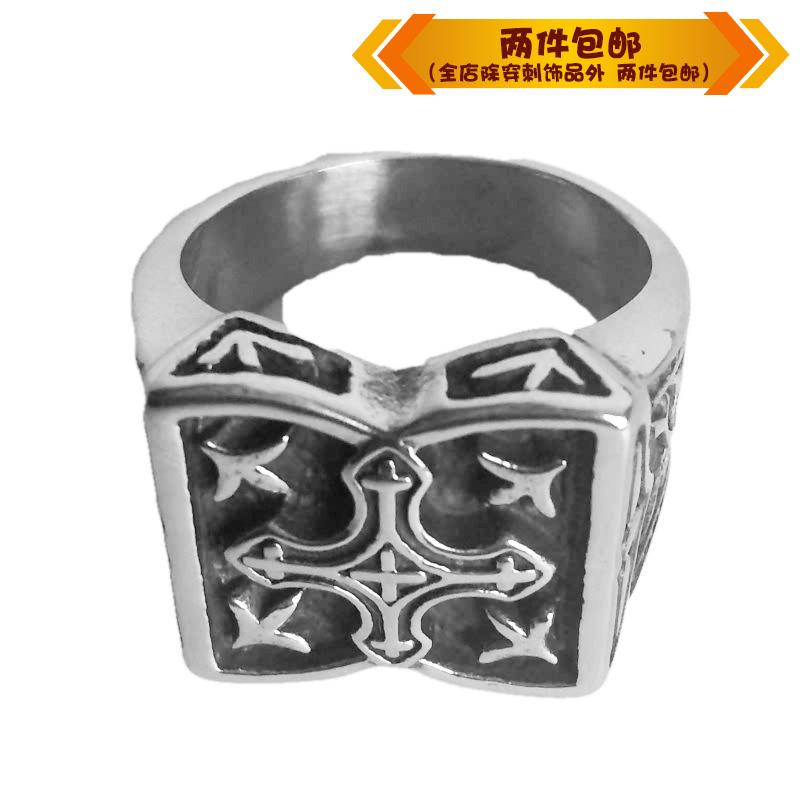 时尚钛钢戒指 欧美摇滚舞台方形十字架钛钢男款戒指指环