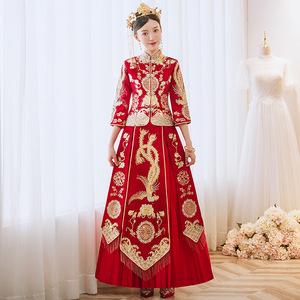 GUIALABRUNA婚纱礼服2021新娘结婚秀禾服敬酒服女装女裙缎面