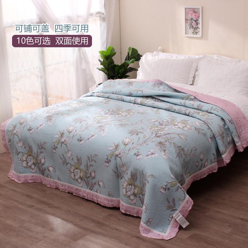 韩国斜纹纯棉绗缝被密道水洗垫子床单欧式床盖单件空调被床上用品