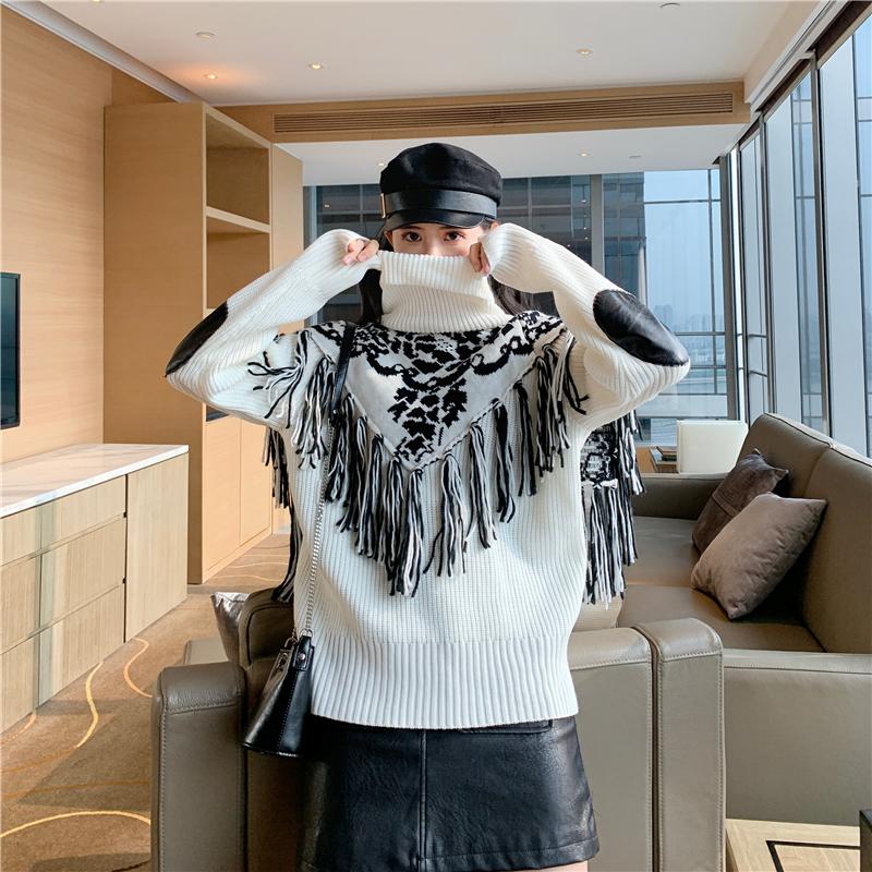 實拍實價~高領百搭款自帶提花須須毛衣披肩巨保暖