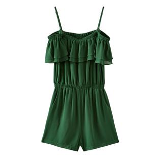 美特斯邦威連衣裙女新款夏季時尚森系洋氣顯瘦露肩學生女士連體褲