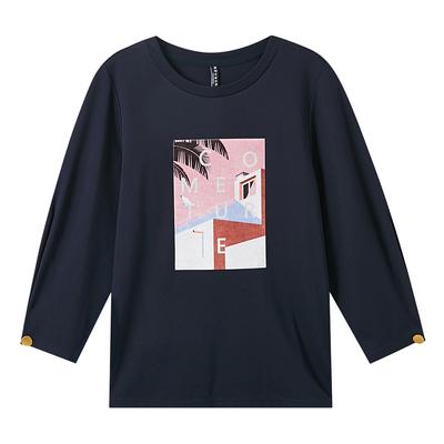 美特斯邦威长袖T恤女春秋ins七分袖T恤女打底衫百搭chic韩风上衣