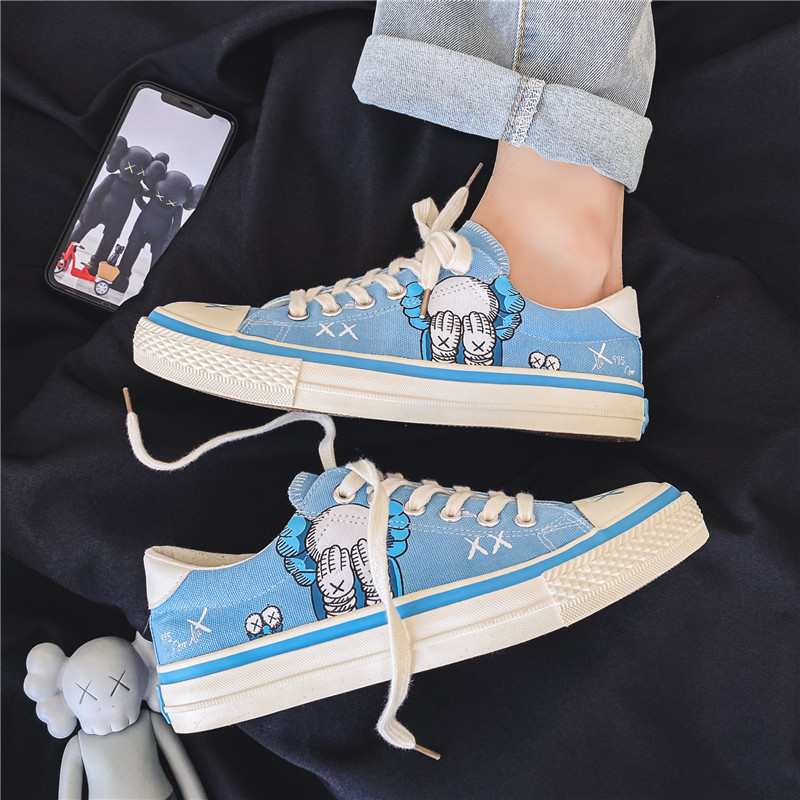Shoes men 2021 new mens low top canvas shoes Korean fashion Sesame Street printed casual board shoes students