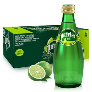 法国perrier进口苏打水巴黎水青柠味饮料330ml*24瓶气泡水矿泉水图片