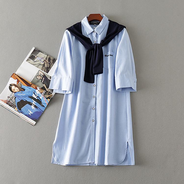 波斯帼 女装秋季新款韩版披肩学院风七分袖中长款系带衬衫女