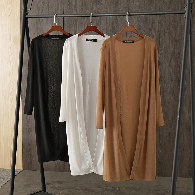 波斯帼女装 夏季V领长袖冰丝开衫 超舒适的防晒开叉中长款外套