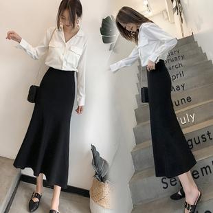 2021秋季韩版心机包臀鱼尾裙高腰修身中长款显瘦气质百搭半身裙女