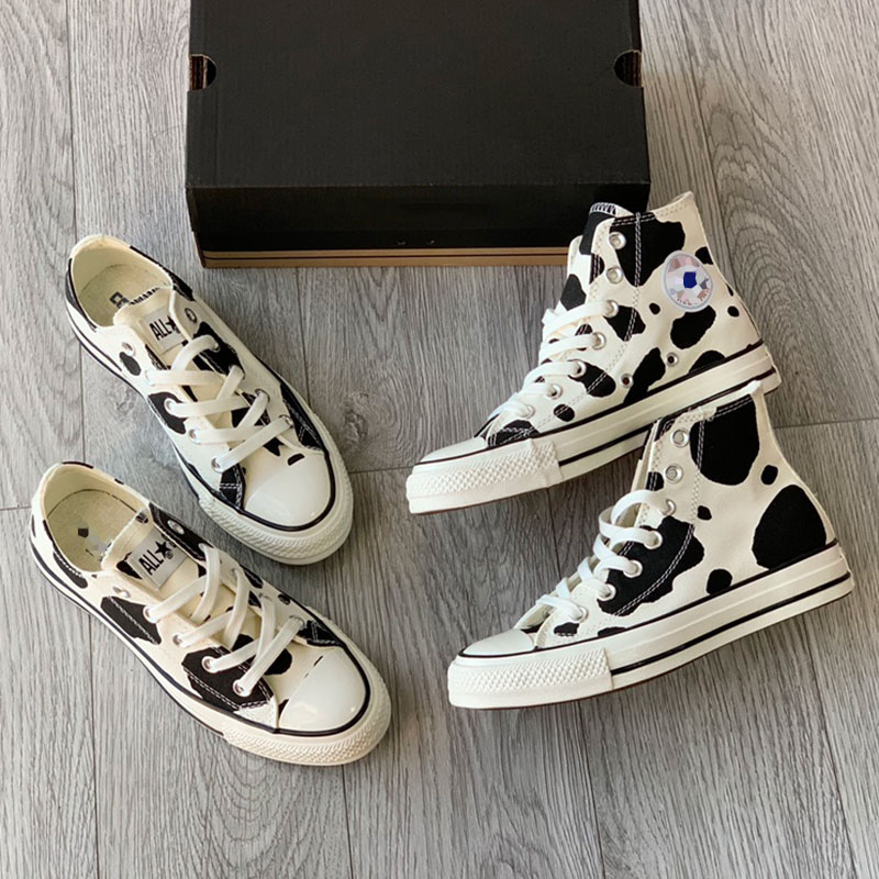 Original Japanese classic 1970s womens Retro cow pattern high top low top canvas shoes sports casual board shoes