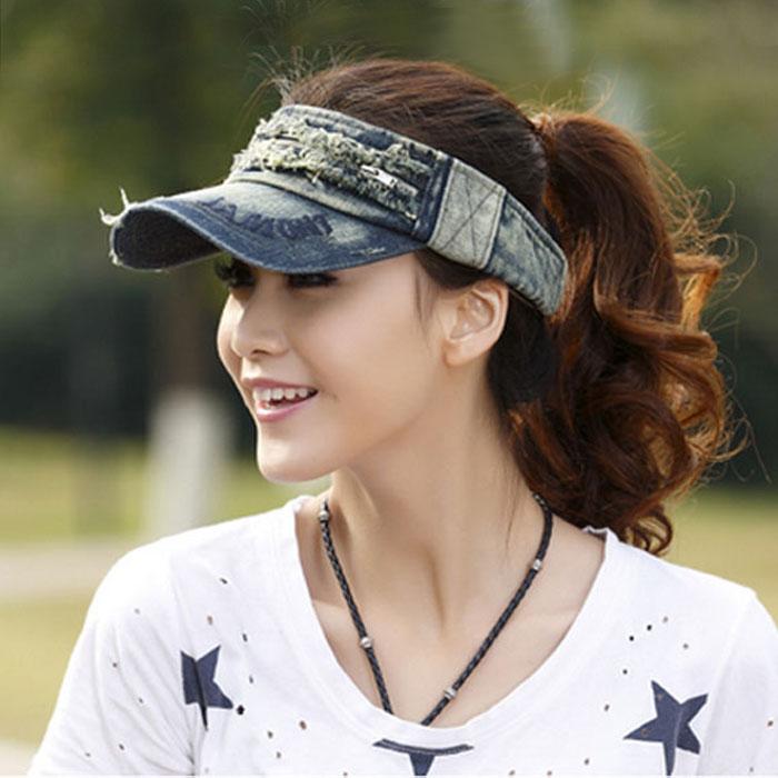 帽子夏天出游防晒牛仔帽空顶帽子男女韩 女遮阳帽棒球帽鸭舌帽子