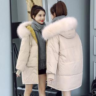羽绒棉服2019新款大毛领韩版宽松中长款棉衣女加厚面包服学生外套价格