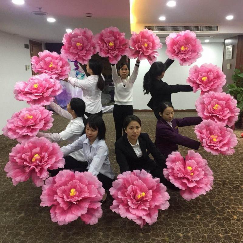 舞蹈道具牡丹手拿花幼儿园运动会入场花朵儿童演出广场舞跳舞手花