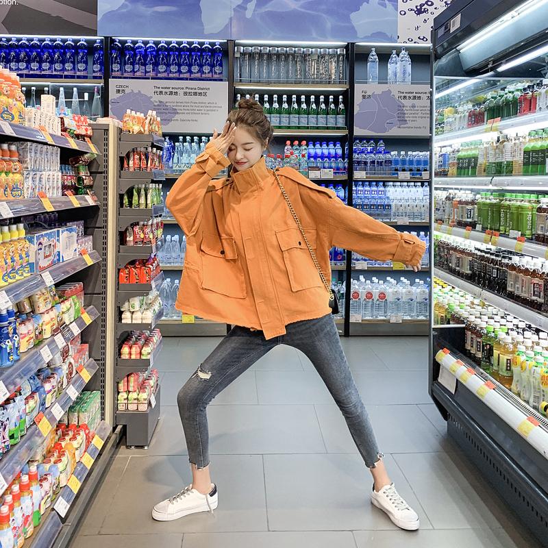 2020春秋新款韩版女装宽松显瘦bf港风夹克工装短款外套百搭风衣女