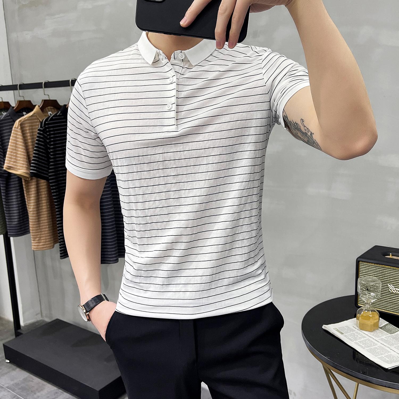 夏季修身条纹POLO衫 休闲翻领短袖T恤型男潮流5色 Y07-P45