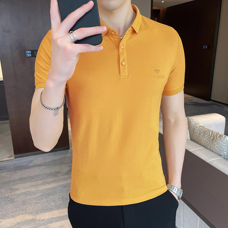 夏季型男修身纯色短袖POLO衫 休闲翻领潮流5色 Y05-P45