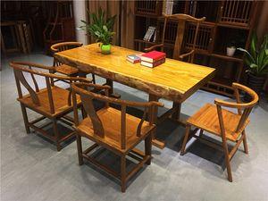 名贵仙作金丝柚木茶桌实木大板楠木家具黄花梨原木大班台大板桌老