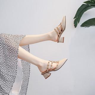 2020新款夏季中跟仙女风尖头法式小高跟粗跟配裙子柳钉半包头凉鞋