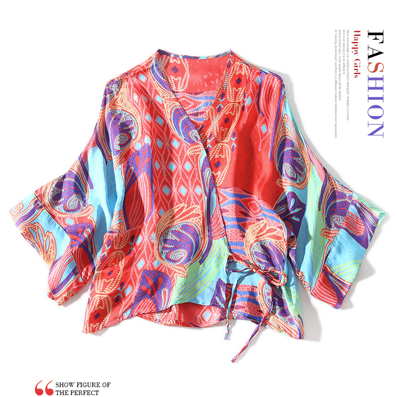 New V-neck Bohemian color block printed bat sleeve waist tie wrap shirt top for women
