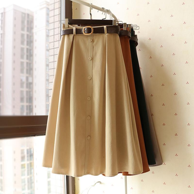 韩版港风chic秋冬新款腰带单排扣磨毛高腰显瘦半身裙中长裙伞裙子图片