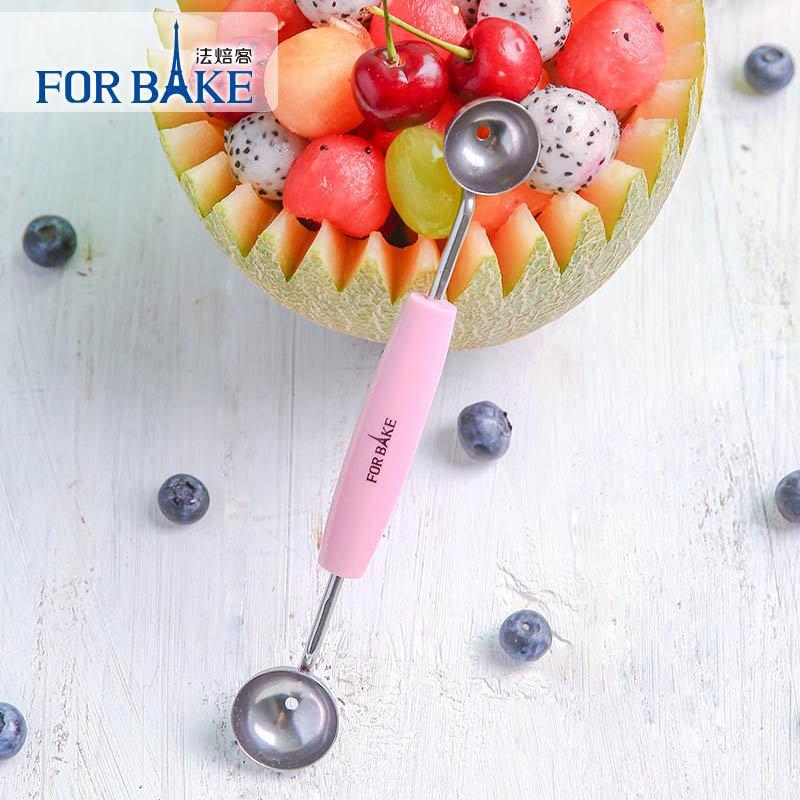 法焙客两头挖球器水果挖勺冰淇淋挖球器不锈钢水果勺双头挖勺器