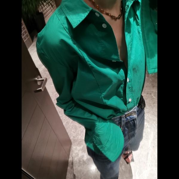 【清仓打折,2件包邮】春天的颜色~ 明媚时髦绿色纯棉衬衫 女图片