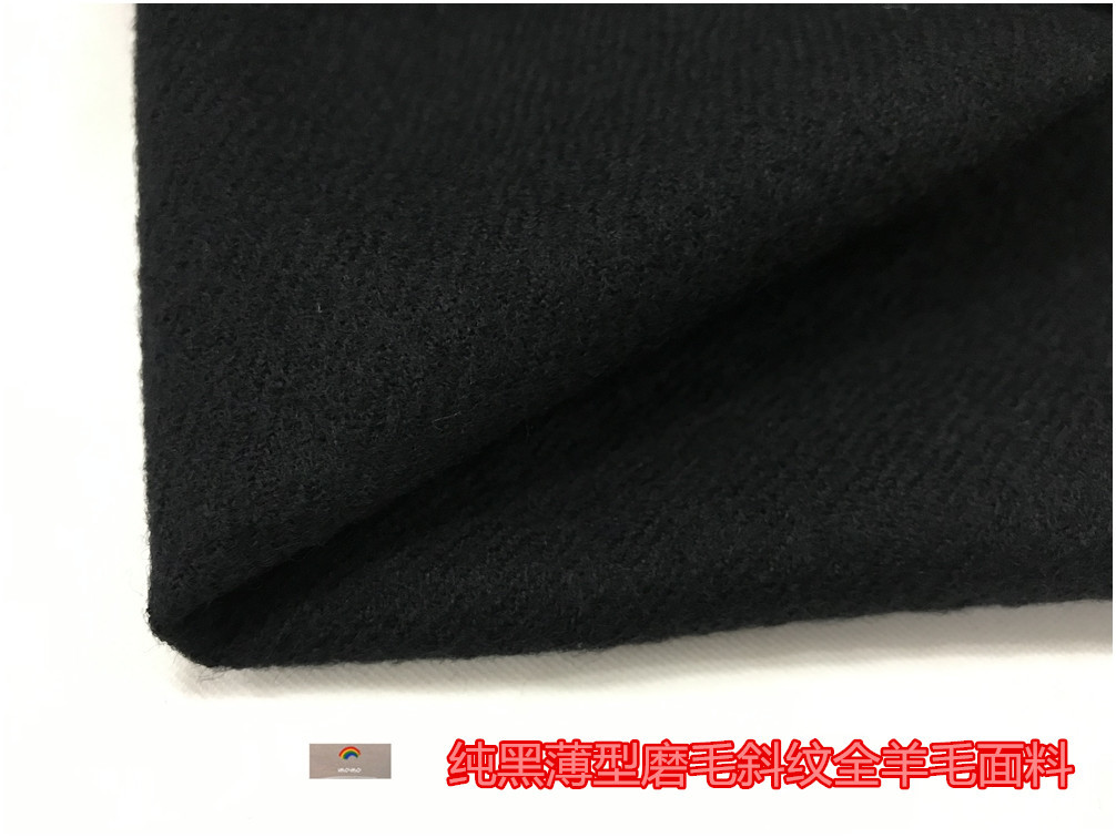 Imported light pure black frosted twill all wool fabric dress, suit coat, versatile short skirt and pants fabric
