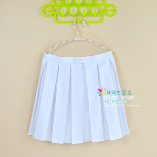 Student British style academic temperament skirt bust skirt pleated skirt waist skirt pure white pleated skirt