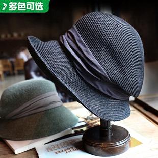 小野商 日本设计原创草编帽渔夫帽夏季防晒出游遮阳帽文艺复古女
