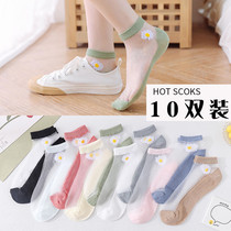 玻璃丝袜子女短袜ins潮小雏菊夏季薄款浅口袜韩国日系透明水晶袜
