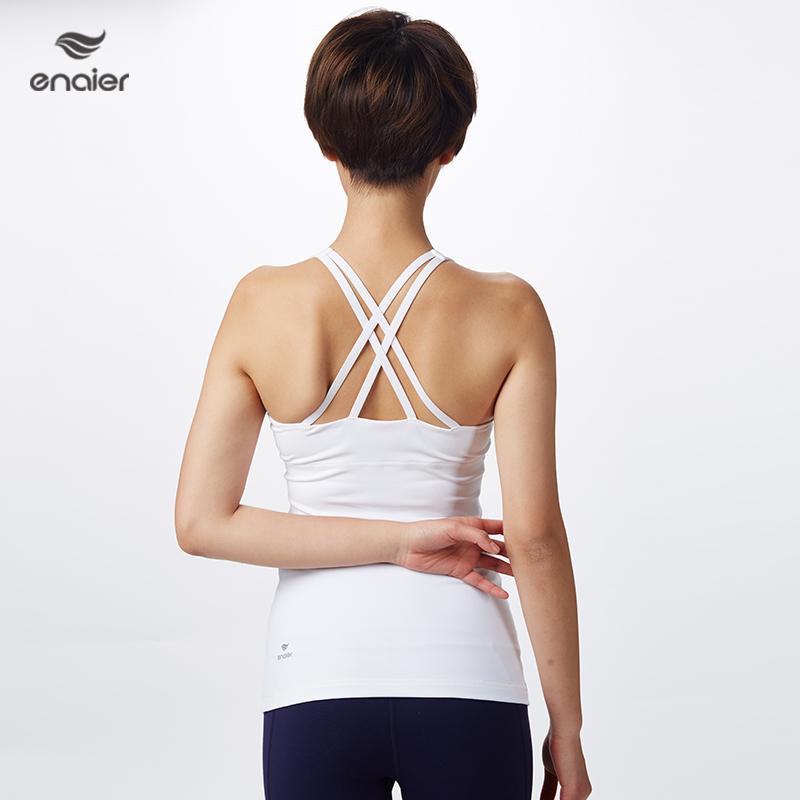 E奈尔新款瑜伽背心后背交叉性感一体式胸垫上衣运动健身171029