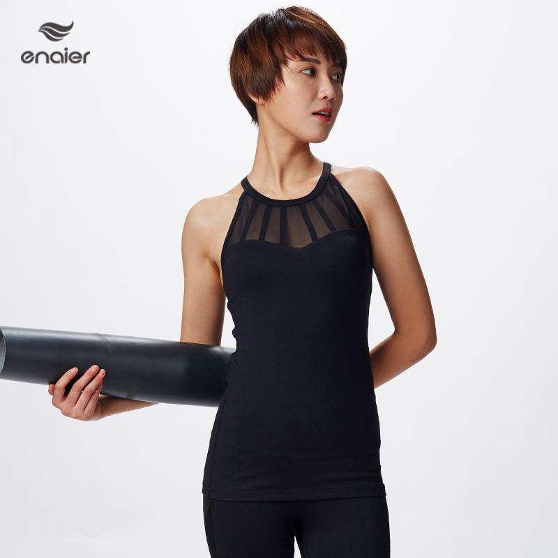 e奈尔  新款瑜伽运动服网纱背心女士性感拼接健身服带胸垫171027