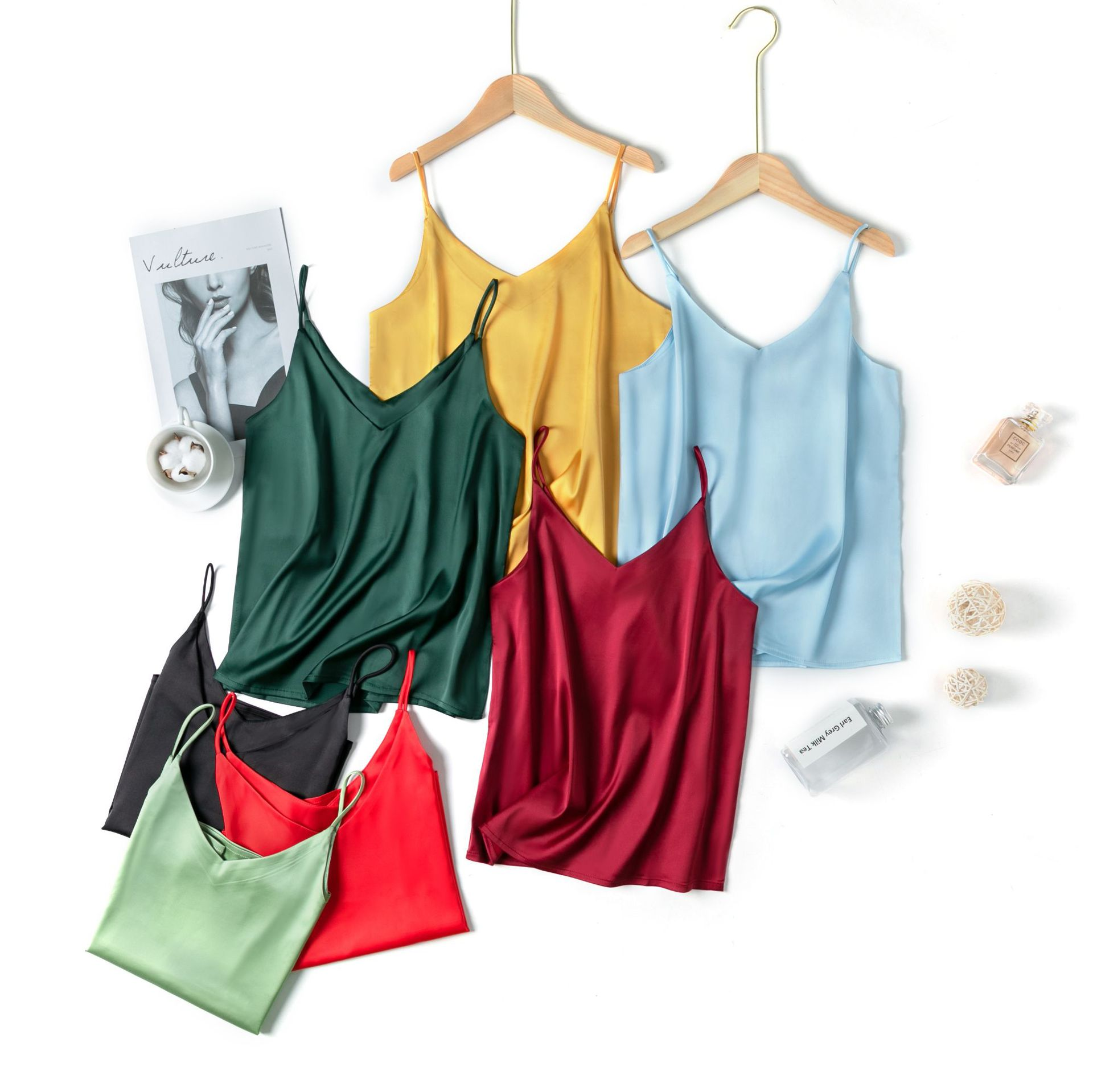 真丝吊带V领背心女士打底衫短款大码冰丝外穿无袖小内搭丝绸缎