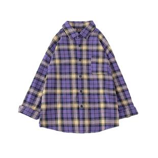 棉麻紫色格子衬衫女2020磨毛长袖