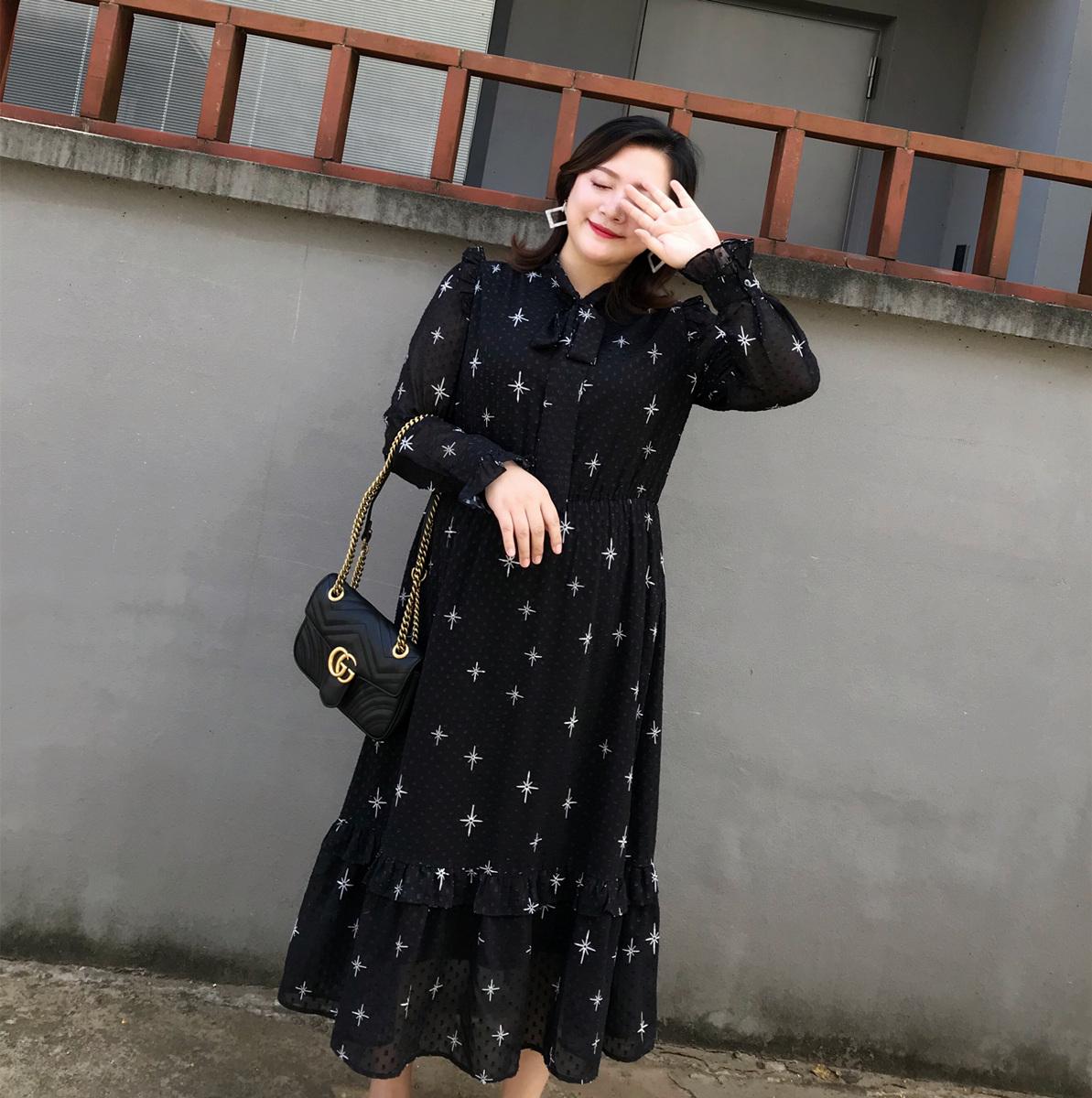 肉肉小姐定制大码女装2018秋冬新款提花名媛气质雪纺收腰连衣裙潮